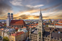 Munich Sunset Panoramic Architecture, Bavaria, Germany.