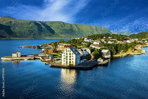 Fototapeta Alesund - sea view on island in Norwegian fjords, Norway.
