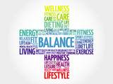 BALANCE word cloud, health cross concept