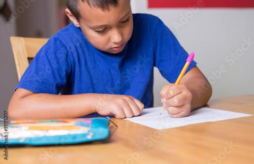 Valokuva  Homeschool boy learning.