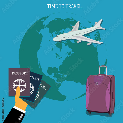 Photo  travel concept,  baggage, luggage, vector illustration in flat design for web si