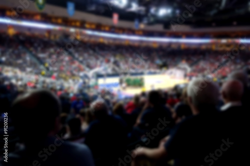 blurred basketball crowd watching game in arena Wallpaper Mural