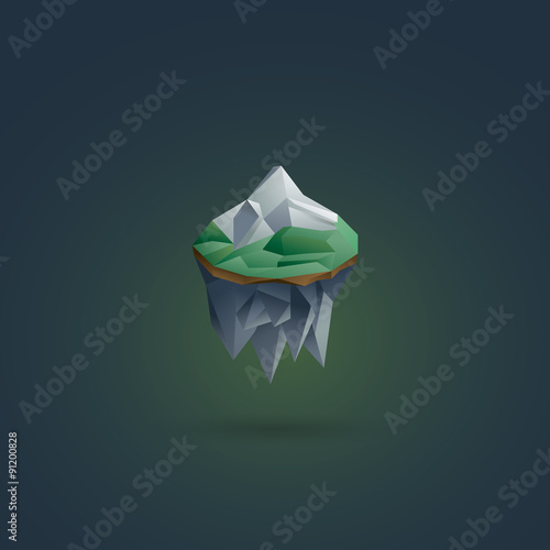 Earth Element Symbol Polygonal Floating Island 3d Low Poly Buy
