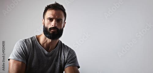 Fotografie, Obraz  Portrait of a handsome bearded guy