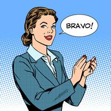 Woman Applause Bravo Concept O...