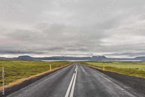 In de dag Route 66 Isolated road and mountain landscape at Iceland, summer time