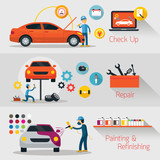 Car Check Up, Repair, Refinishing Banner, Automobile Service and Maintenance