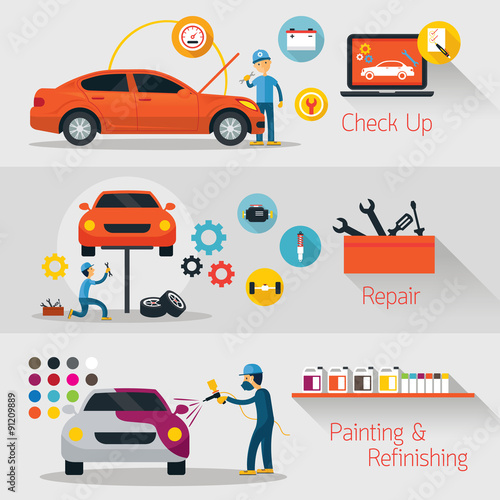 Staande foto Cartoon cars Car Check Up, Repair, Refinishing Banner, Automobile Service and Maintenance