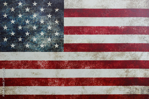 Fotografie, Obraz  Vintage American flag on canvas