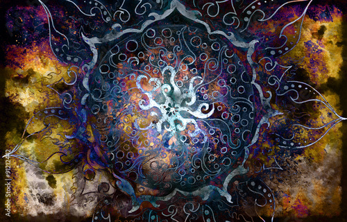 Fototapety, obrazy: oriental ornamental mandala and color abstract background