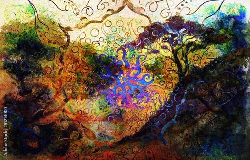 Fototapety, obrazy: Painting sunset, sea, trees, landscape and ornamental mandala