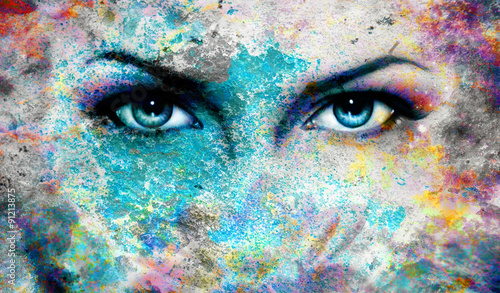 Fotografie, Tablou  goddess women eye, with oriental mandala ornament eye contact
