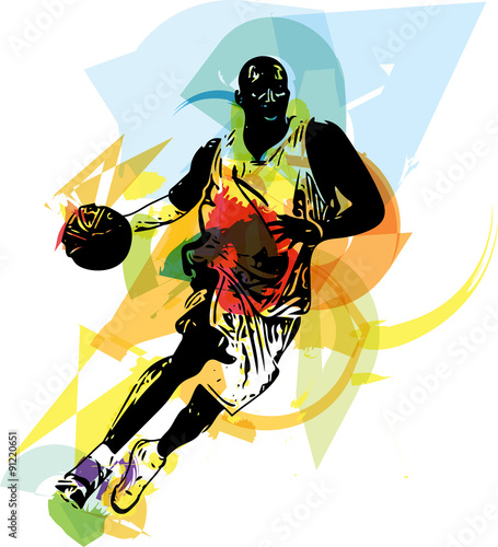 obraz lub plakat Sketch of basketball player