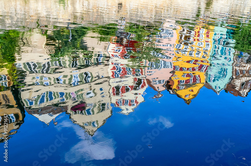 obraz dibond Colorful old German houses reflection on the water