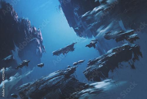 Plakaty Fantasy fantasy-island-floating-in-the-sky-illustration-painting