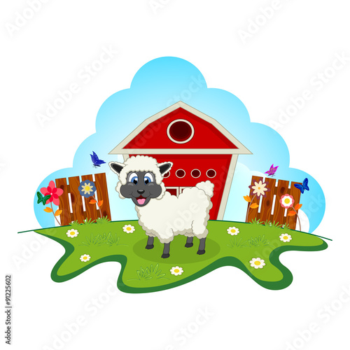 Sheep on farm cartoon for your design