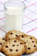 Snack: Glass Of Milk And Chocolate Chip Cookies On Grey Background