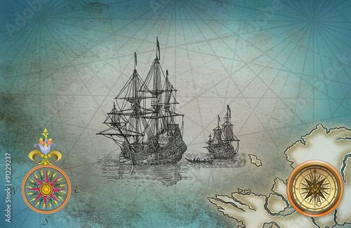 In de dag Schip Old pirate map