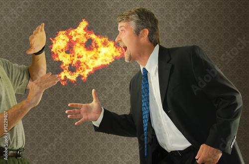 Fotografie, Obraz  Zápach z úst chronický zápach z úst humor se člověk dýchá oheň na někoho, jak jede potřást rukou