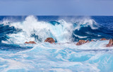 déferlante bleue sur côte sud Réunion