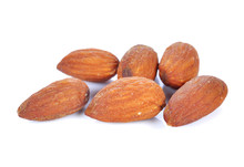 Salted Almonds Nuts Isolated On White Background
