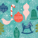 Christmas seamless pattern background with ornaments and decorat