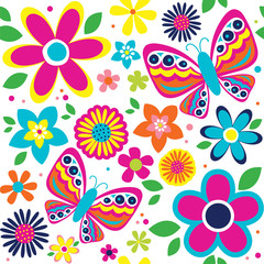 Fototapeta Motyle spring pattern with cute butterflies suitable for gift wrap or wallpaper background