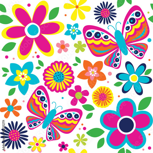 spring pattern with cute butterflies suitable for gift wrap or wallpaper background - 91235279