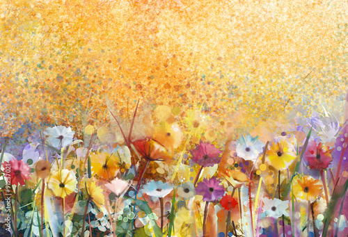 Watercolor painting flowers and soft green leaves. Yellow-brown color texture on grunge paper background. Vintage painting flowers style in soft color and blur background for your design - 91237021
