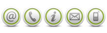 Contact Us – Set Of Light Gray Buttons With Reflection & Light Green