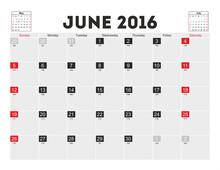 Vector Planning Calendar June 2016