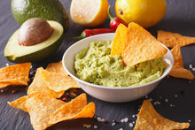 Sauce Guacamole, Nachos Chips And Ingredients. Horizontal