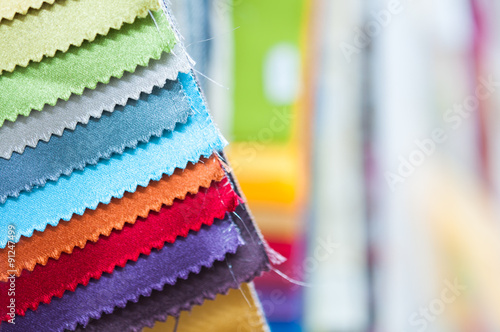 Foto op Aluminium Stof Colorful Fabric Samples Background
