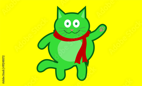 Garden Poster Fairytale World Happy green cat color
