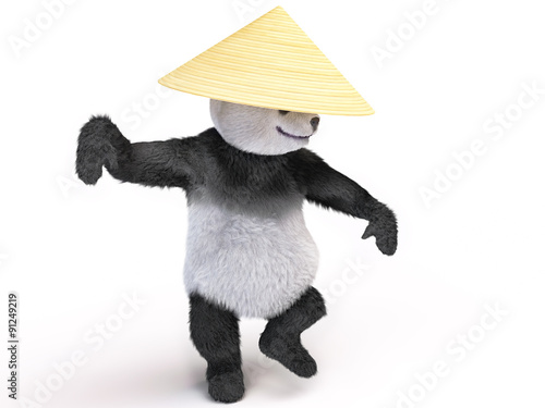 Photographie  bamboo bear in a military pose preparing to leap and drawing of blows