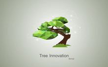 Conceptual Low Polygon Geometric Trees. Abstract Vector Illustration, Background Design, Bonsai