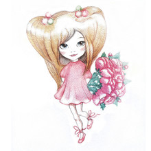 Watercolor Illustration Of A Little Girl With A Bouquet Of Pink Flowers