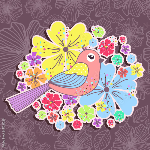 Photo sur Aluminium Hibou Beautiful pattern card with birds and flowers on a purple background