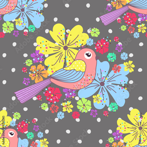 Photo sur Aluminium Hibou Seamless pattern with birds and flowers on a polka dots on a gray background