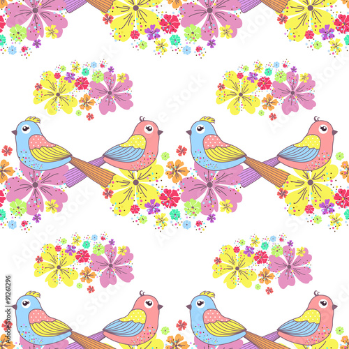 Photo sur Aluminium Hibou Seamless pattern with birds and flowers on a white background