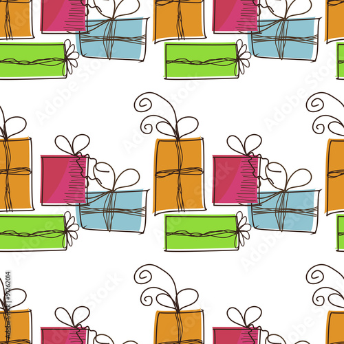 Photo sur Aluminium Hibou Seamless festive pattern with gifts on a white background
