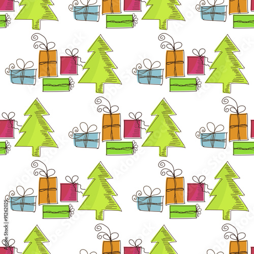 Photo sur Aluminium Hibou Seamless, Christmas pattern with Christmas trees and gifts