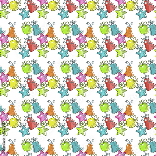Poster Hibou Christmas seamless pattern with Christmas decorations