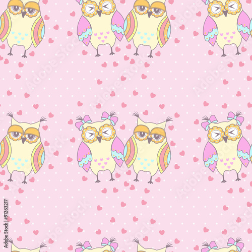 Photo sur Aluminium Hibou Seamless pattern with owls in love on a pink background