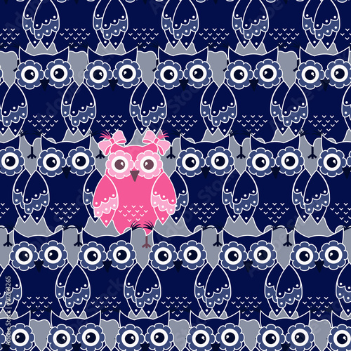 Photo sur Aluminium Hibou Seamless pattern with blue and pink owls
