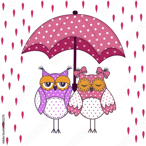 Photo sur Aluminium Hibou loving couple of owls with umbrella in the rain on a white background
