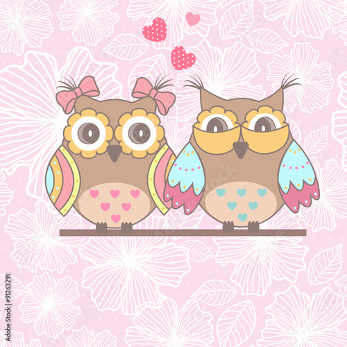 Photo sur Aluminium Hibou Beautiful card with owls in love on branch on a pink lace background