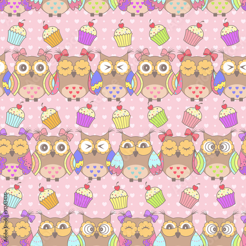Photo sur Aluminium Hibou Beautiful pattern with owls and cakes on a pink background