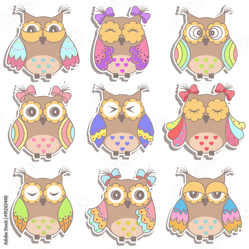 Poster Hibou Set of multicolored, beautiful owls