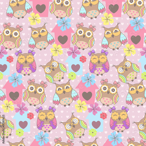 Photo sur Aluminium Hibou Beautiful seamless pattern with cute owls and birdhouse